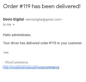 Delivery Drivers for WooCommerce Pro - Email to administrator when order is delivered
