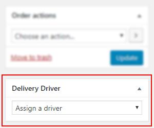 Assign a driver - WooCommerce order edit screen