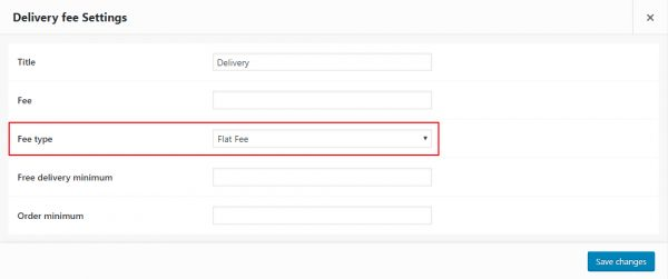 WooCommerce delivery fee type shipping method option